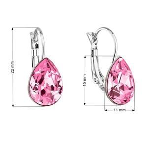 Náušnice bižuterie se Swarovski krystaly slza, Rose