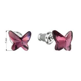 Náušnice bižuterie se Swarovski krystaly motýl, Amethyst