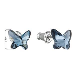 Náušnice bižuterie se Swarovski krystaly motýl, Denim Blue