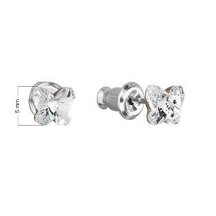 Náušnice bižuterie se Swarovski krystaly motýl, Crystal