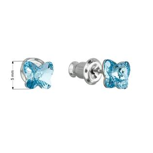 Náušnice bižuterie se Swarovski krystaly motýl, Aqua