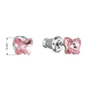 Náušnice bižuterie se Swarovski krystaly motýl, Light Rose