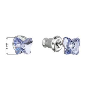 Náušnice bižuterie se Swarovski krystaly motýl, Provance Lavender