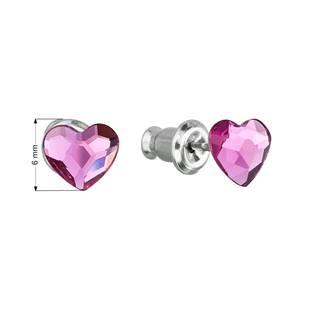 Náušnice bižuterie se Swarovski krystaly srdce, Fuchsia