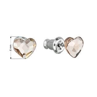 Náušnice bižuterie se Swarovski krystaly srdce, Light Silk