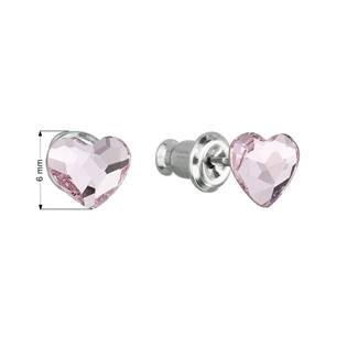 Náušnice bižuterie se Swarovski krystaly srdce, Rose