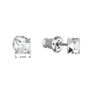 Náušnice bižuterie se Swarovski krystaly bílá čtverec