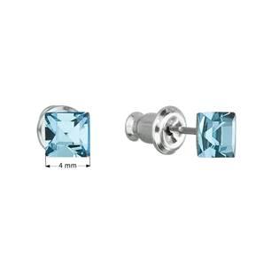 Náušnice bižuterie se Swarovski krystaly modrá čtverec