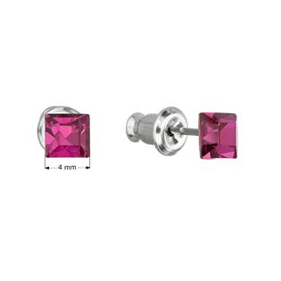 Náušnice bižuterie se Swarovski krystaly růžová čtverec  fuchsia