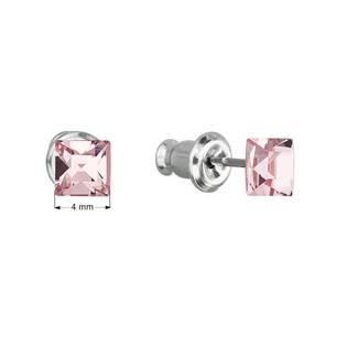 Náušnice bižuterie se Swarovski krystaly růžová čtverec  light rose