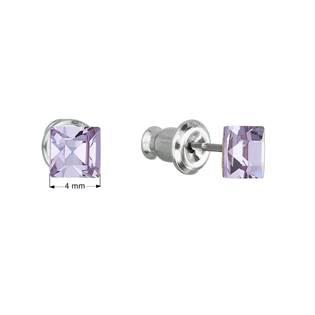 Náušnice bižuterie se Swarovski krystaly fialová čtverec  violet