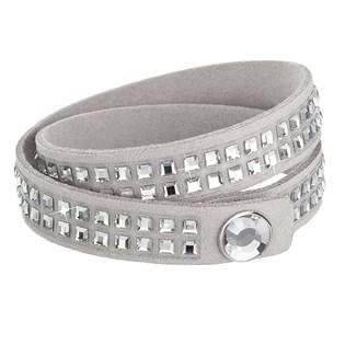 Náramek dvouřadý s krystaly Crystals from Swarovski® šedý