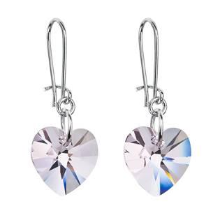 Náušnice bižuterie se Swarovski krystaly srdce, Crystal AB