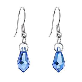 Náušnice bižuterie se Swarovski krystaly slza, Sapphire