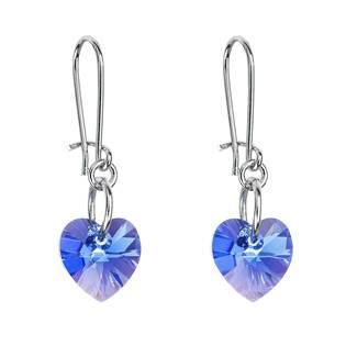 Náušnice bižuterie se Swarovski krystaly srdce, Sapphire