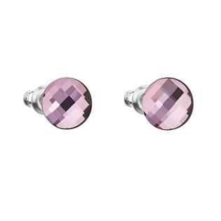 Náušnice bižuterie se Swarovski krystaly kulaté, Lilac Shadow