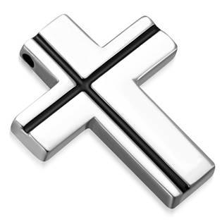 Ocelový přívěšek - kříž s černými linkami