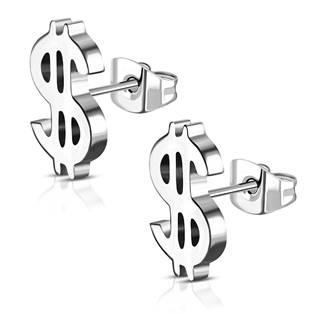 Ocelové náušnice dolary