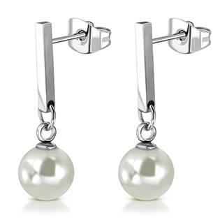 Visací ocelové náušnice s perličkami