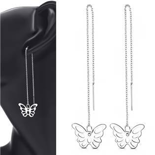 Provlékací ocelové náušnice s motýlky
