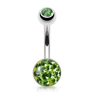 Piercing do pupíku Crystals from Swarovski®, zelená barva