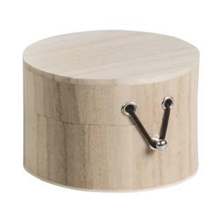 Kulatá dřevěná krabička na gumičku