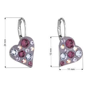 Náušnice bižuterie se Swarovski krystaly srdce, Amethyst