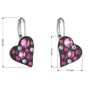 Náušnice bižuterie se Swarovski krystaly srdce, Pink