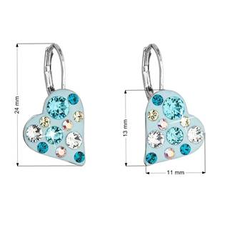 Náušnice bižuterie se Swarovski krystaly srdce, Turquoise