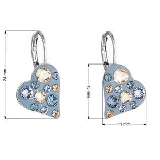 Náušnice bižuterie se Swarovski krystaly srdce, Denim Blue