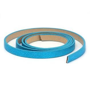 Plochá šňůra ze systetické kůže, modrá barva, šíře 10 mm