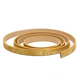 Plochá šňůra ze systetické kůže, zlatá barva, šíře 10 mm