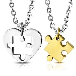 Ocelové partnerské přívěšky puzzle - 2 kusy