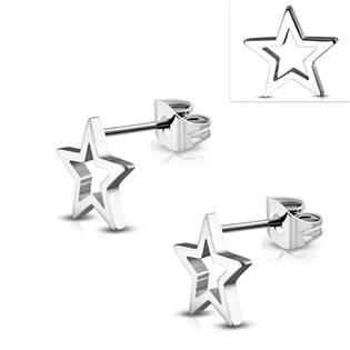 Ocelové náušnice - hvězdy