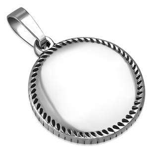 Ocelový přívěšek - malá kruhová destička průměr 21 cm