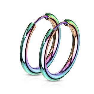 Duhové ocelové náušnice - kruhy 19 mm
