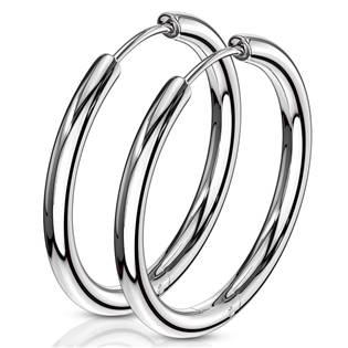 Ocelové náušnice - kruhy 25 mm