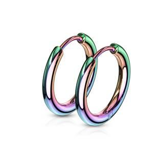 Duhové ocelové náušnice - kruhy 15 mm
