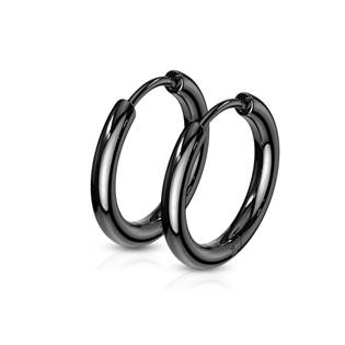 Černé ocelové náušnice - kruhy 15 mm