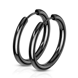 Černé ocelové náušnice - kruhy 21 mm