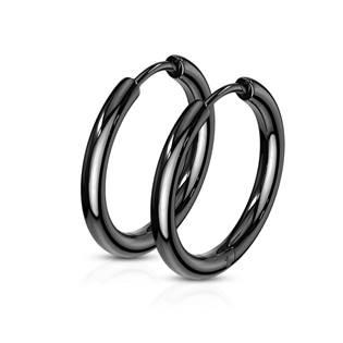 Černé ocelové náušnice - kruhy 17 mm
