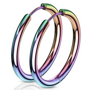 Duhové ocelové náušnice - kruhy 25 mm