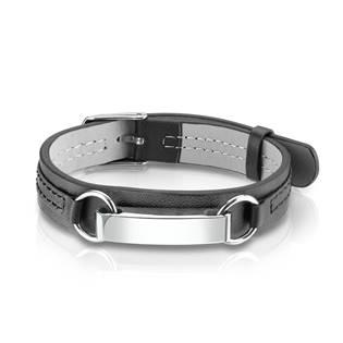 Černý kožený náramek s ocelovou destičkou