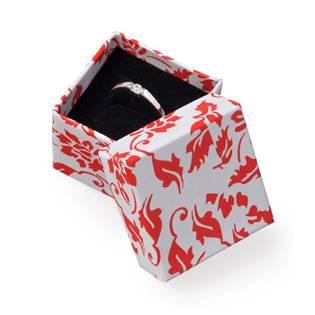 Dárková krabička na prsten, červený potisk