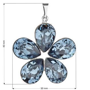 Přívěsek bižuterie se Swarovski krystaly kytička, Denim Blue