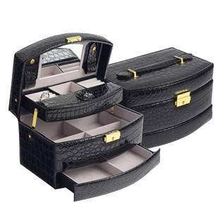 Černá koženková šperkovnice