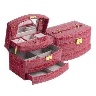 Fialová koženková šperkovnice