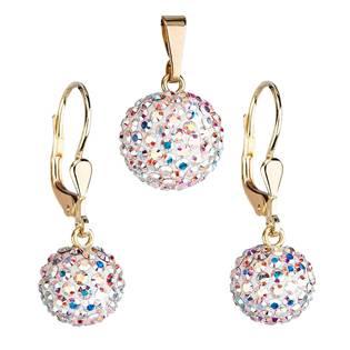 Zlatá 14 karátová sada šperků Crystals from Swarovski® AB