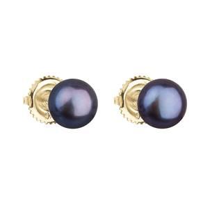 Zlaté 14ti karátové náušnice s modrou říční perlou