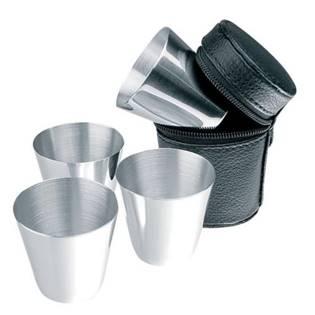 Ocelové pohárky kalíšky 70 ml - panáky 4 ks